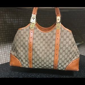Authentic Gucci Tote Bag Brown Leather & Canvas